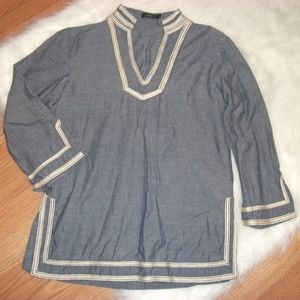 Anthro THML Embroidered Chambray Blouse